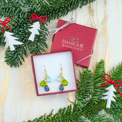 Danique Jewelry Gift Box Gift for Mom Gift for Sister Yellow Gold Birthstone Earrings Sky Blue Topaz Peridot Kyanite