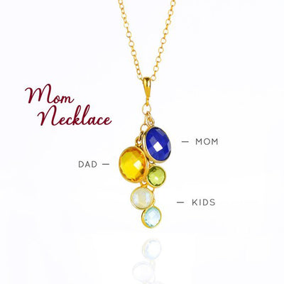 Grandmother Pendant Necklace with Children and Grandchildren Birthstones
