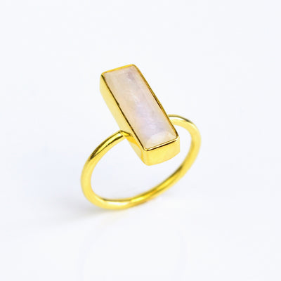 Moonstone Gemstone Bar Ring, June Birthstone Geometric Ring