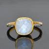 Moonstone Vermeil Gold White Topaz Pave cushion cut ring - June Birthstone