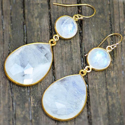 Rainbow Moonstone Double Drop Earrings - June Birthstone
