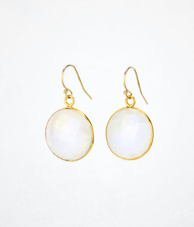 Moonstone large round Vermeil Gold or Sterling Silver bezel set Earrings - June Birthstone
