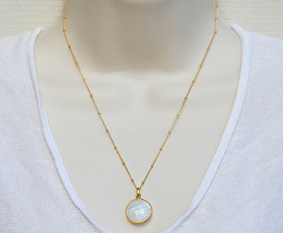 Faceted Round Moonstone bezel station Necklace - June Birthstone