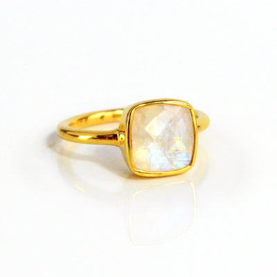 Moonstone cushion cut bezel set ring - June Birthstone