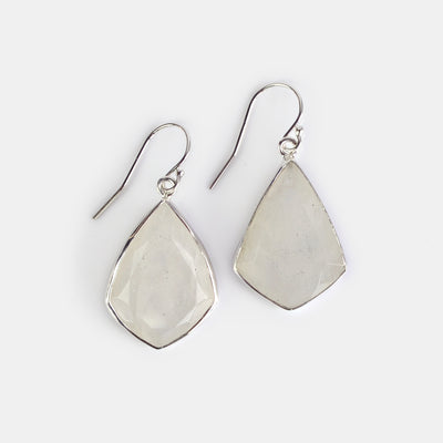 Natural Grey Moonstone Statement Earrings