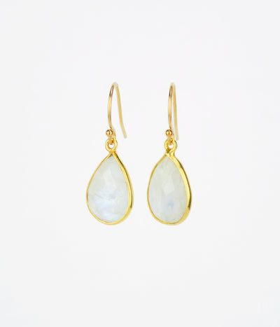 Moonstone Small Teardrop Bezel Set Earrings - June Birthstone