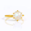 Rainbow Moonstone Round Prong Ring - June Birthstone