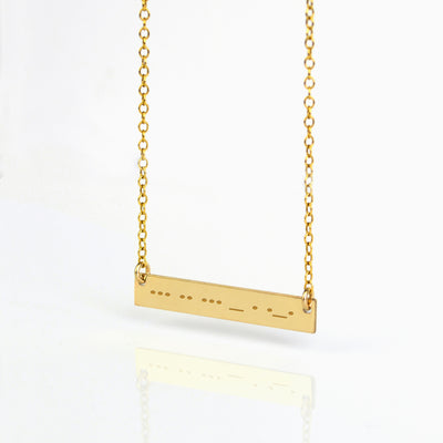 Morse code necklace - Silver, Gold or Rose Gold Bar
