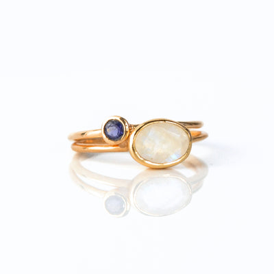 Stacking Ring Set Combo with Tiny Oval and Tiny Round Stone
