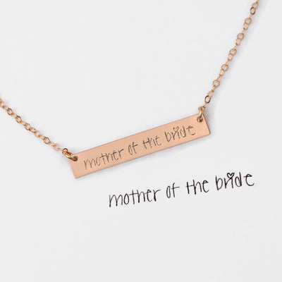 Actual Handwriting or Signature Bar Necklace