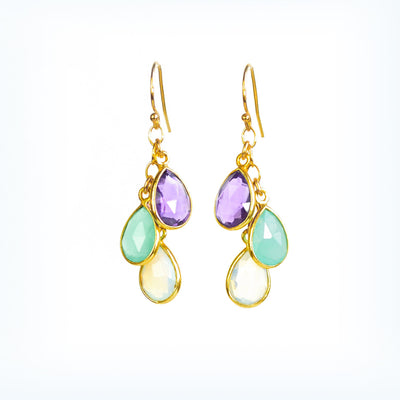 Mother's Cascade Birthstone Earrings Yellow Gold Gemstone Earrings Purple Amethyst Aqua Chalcedony Opalite Gemstones