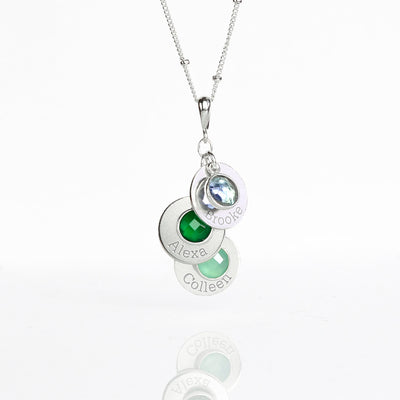 Mothers Necklace with Custom Children Name Charms and Birthstones