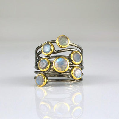 Labradorite multi stone ring - mixed metal