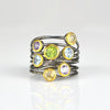 Citrine, Peridot, Amethyst, Blue Topaz multi stone ring - mixed metal