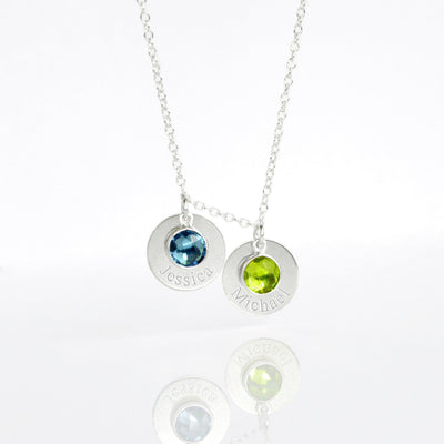 Mother's Necklace with Kids Names and Birthstones