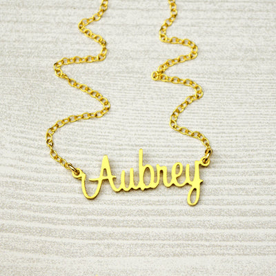 Custom Name Necklace, Gold Name Plate Necklace, Script Name Necklace, Classic Name Necklace