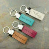 Leather Keychain White Blue Magenta Brown Zinc Alloy Metal Keyrings Personalized Gift