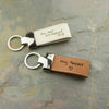 White or Brown Leather Keychains Metal Key Fob Actual Handwriting Engraved