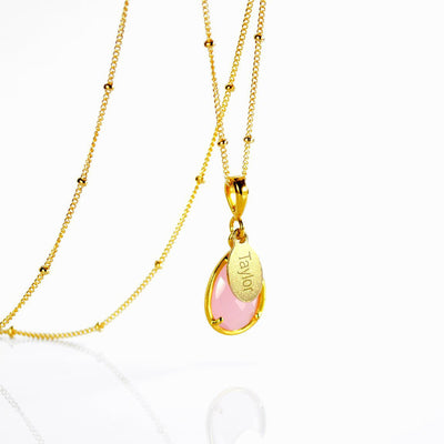 October Birthstone & Name Necklace: Pink Chalcedony