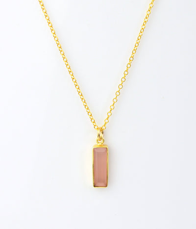 Pink Chalcedony Vertical Bar Necklace : October Birthstone : Adira Series