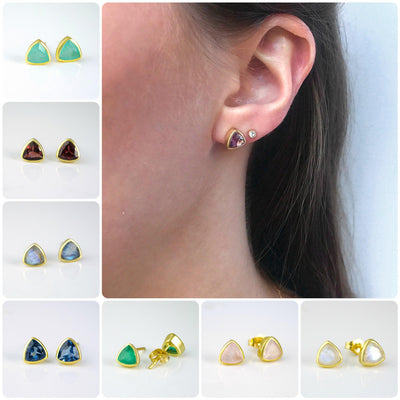 Small Natural Labradorite Triangle Studs, Everyday Earrings