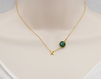 Natural Birthstone Bezel Station Letter Charm Necklace