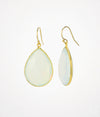 Faceted Opalite Teardrop Bezel Set Earrings, October Birthstone