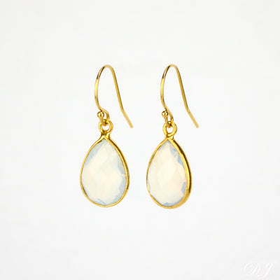 Opalite Small Teardrop Bezel Set Earrings, October Birthstone