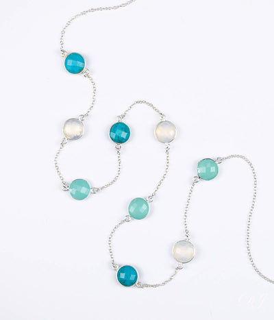 Long Opalite, Aqua Chalcedony, Turquoise bezel station necklace