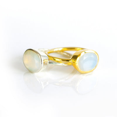 Opalite Oval Bezel  Ring : October Birthstone