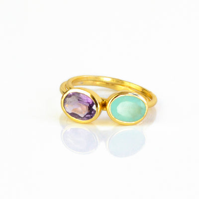 Small Oval Aqua Chalcedony Ring : March Birthstone