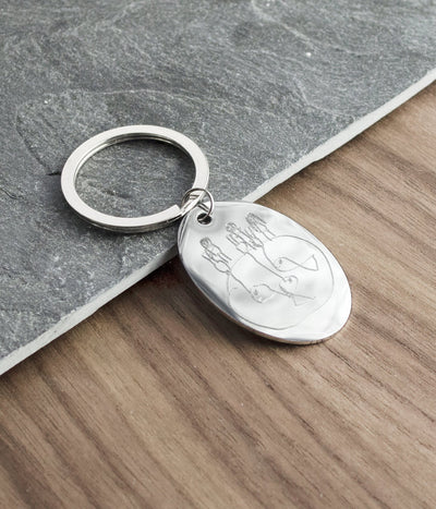 Monogram Oval Shaped Keychain