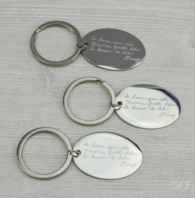 Actual Handwriting Keychain Oval Shaped Keychain