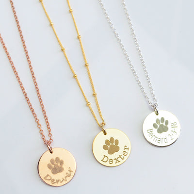 Cable or Satellite Chain Style Rose Gold Silver Yellow Gold Metal Jewelry Paw Print Engraving
