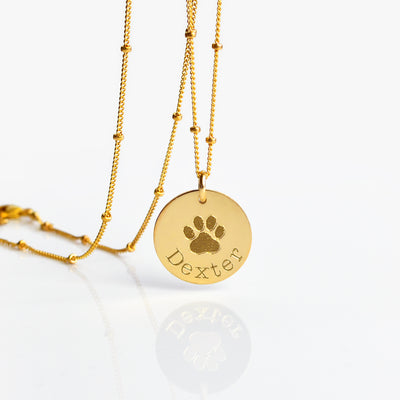 gold-filled personalized necklace paw print pet necklace in memory of pet name and paw print engraved disc pendant necklace
