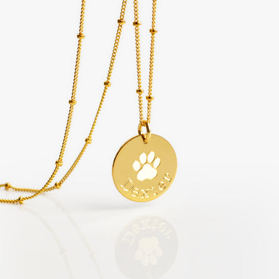 Disc Pendant Necklace Gold-filled necklace personalized with pet's name satellite chain