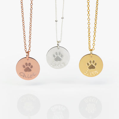 Personalized Pet Paw Print Charm Necklace