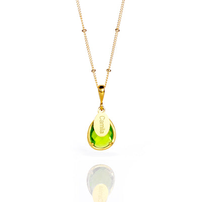 August Birthstone & Name Necklace : Peridot