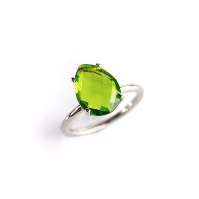 Peridot Teardrop Ring : August Birthstone