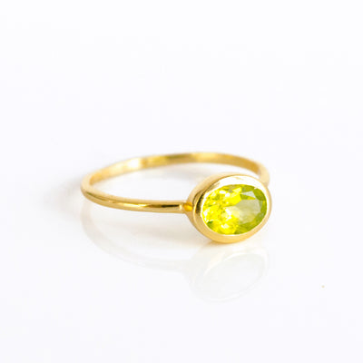 Small Oval Peridot Ring : August Birthstone