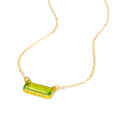 Peridot Bar Necklace : August Birthstone : Adira Series
