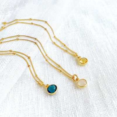 Custom Birthstone Dainty Necklace