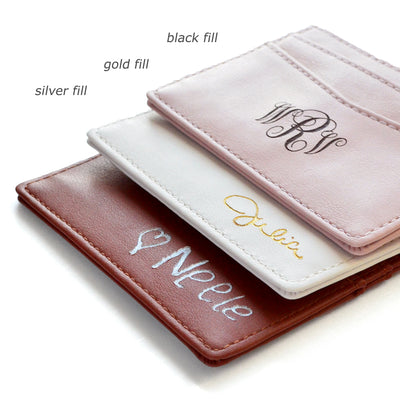 Personalized PU Leather Cardholder with Monogram or Signature - Five Pockets