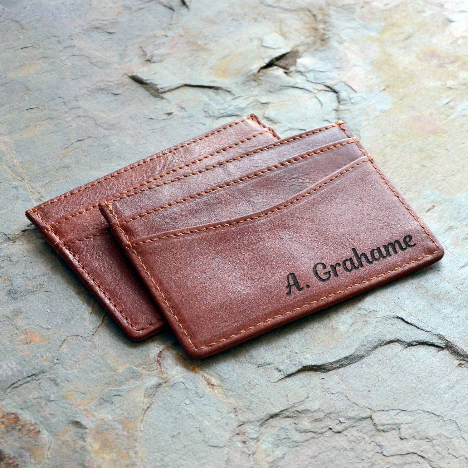 Personalized Name Leather Thin Card Holder Wallet Case Monogram Name Hand Stitched by Harlex Gift for Him Christmas Gift Thanksgiving Gift