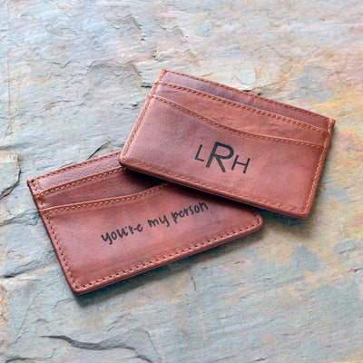 actual handwriting or monogram engraving personalized leather cardholder for him or her