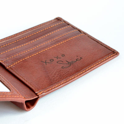 Personalized Leather Wallet with Monogram or Handwriting