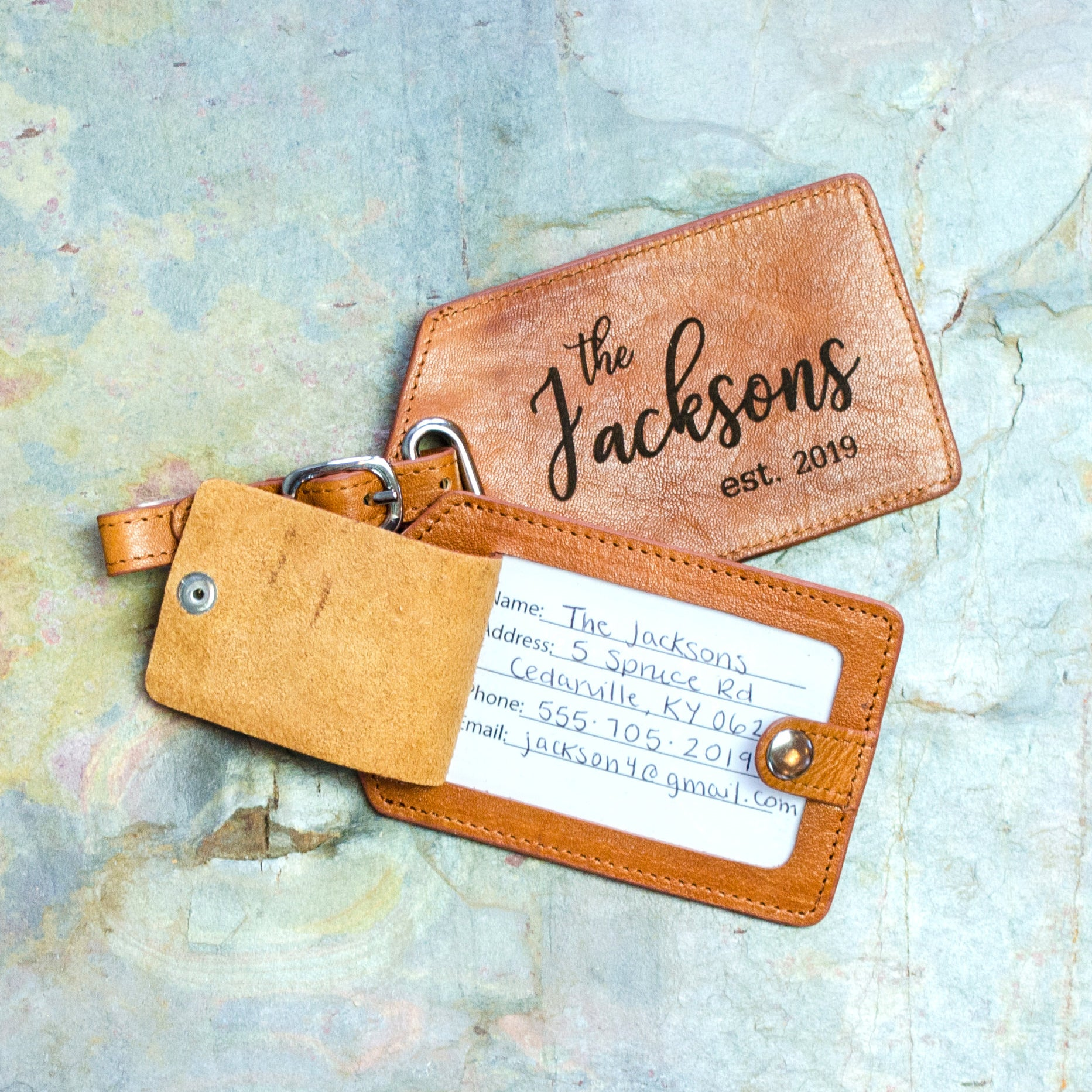 Jackson Leather Keyring Birthday Name Optional Engraving