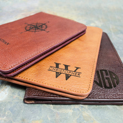 Personalized Leather Passport Holder and Luggage Tag Set