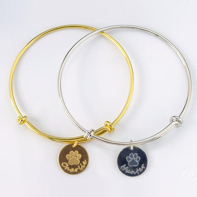 Personalized Paw Print Bangle Bracelet