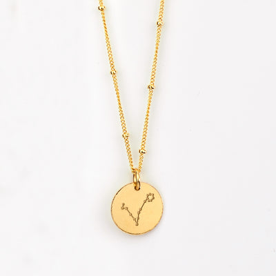Pisces Constellation Necklace with Monogram Engraving on Back